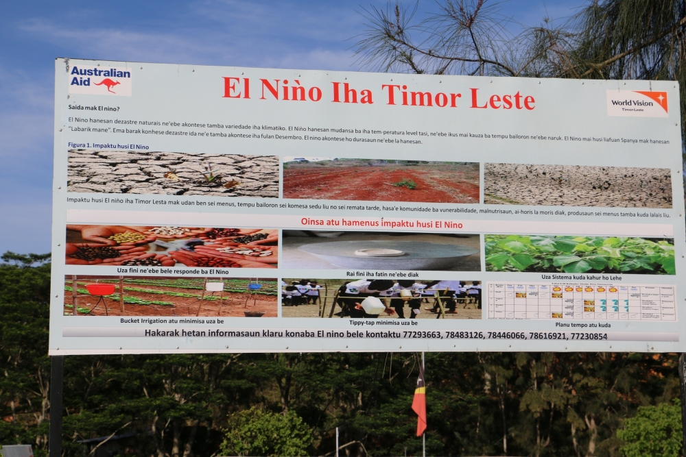 Campaigns to raise awareness of the effects of El Nino included information boards in public spaces