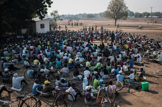 A food distribution briefing in Malikopo, Chikwawa, one of the areas of Malawi most affected by this year's severe drought. Photograph: Andrew Renneisen/Getty Images