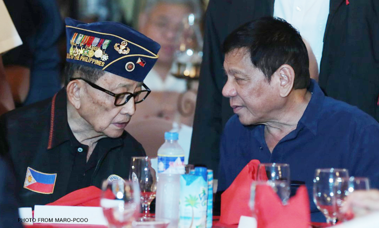 Former President Fidel Ramos (L), one of the key figures who convinced then Davao City Mayor Rodrigo Duterte (R) to run for the highest post in the land, now criticizes the President's foot-dragging on climate change deal.