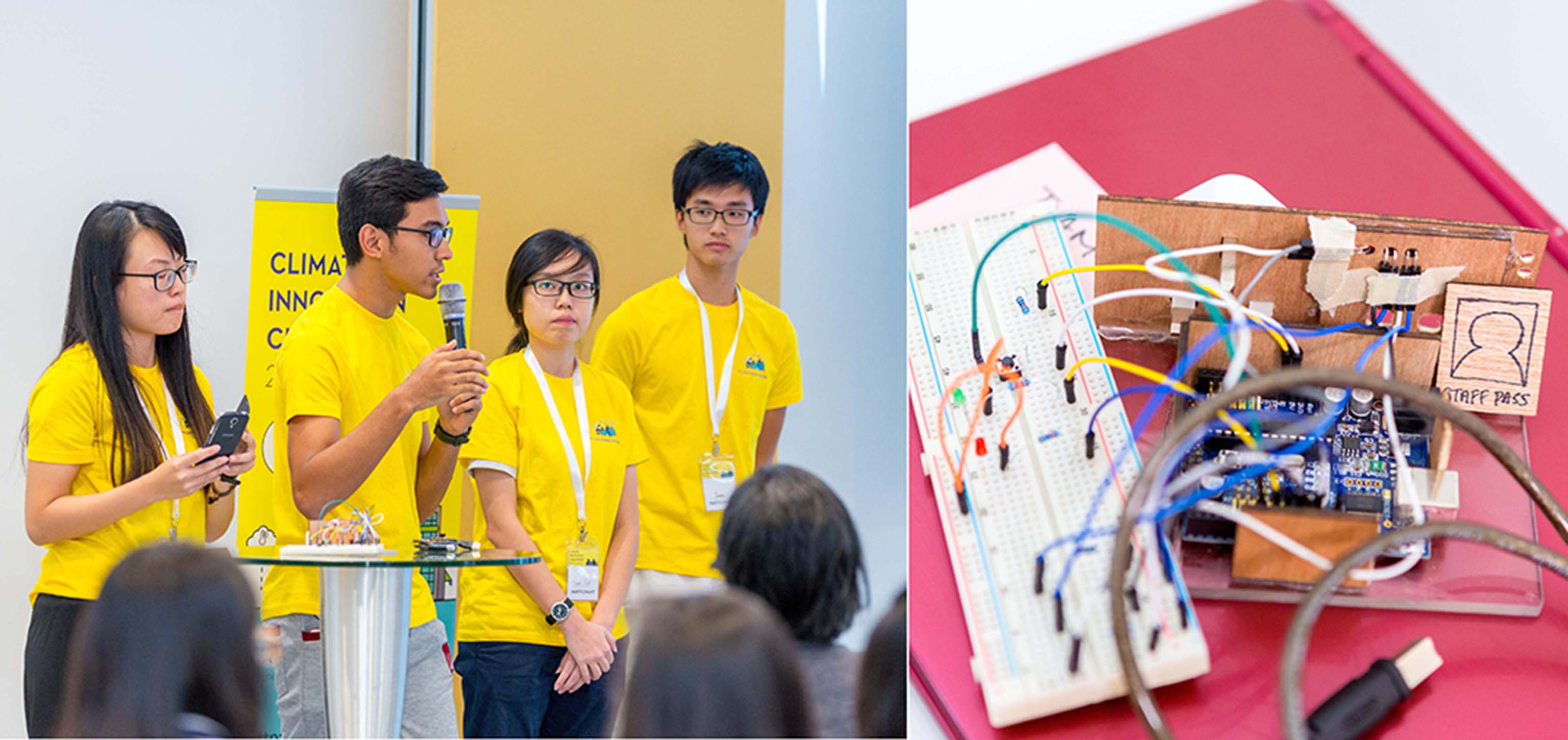 The top-winning team explains how its power monitoring system allows users to track their energy usage using radio-frequency identification (RFID) technology. It hopes that personalised statistics about energy use will motivate users to adopt energy-saving habits in the office.
