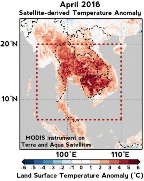 Satellite data shows that temperatures in April 2016 soared to as much as 6-7 degrees Celsius (about 11-13 degrees Fahrenheit) higher on Southeast Asia's mainland than the average April temperature of the region during 2000-2006. Credit: Kaustubh Thirumalai
