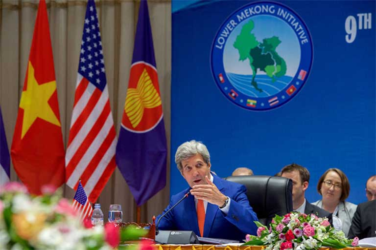 Former Secretary of State John Kerry gives a speech at the 9th Lower Mekong Initiative Ministerial Meeting in Vientiane, in the Lao People's Democratic Republic, last July. The LMI has been the United States' primary environmental spearhead in Southeast Asia. It is expected to vanish under the Trump administration. Photo courtesy of the U.S. Department of State