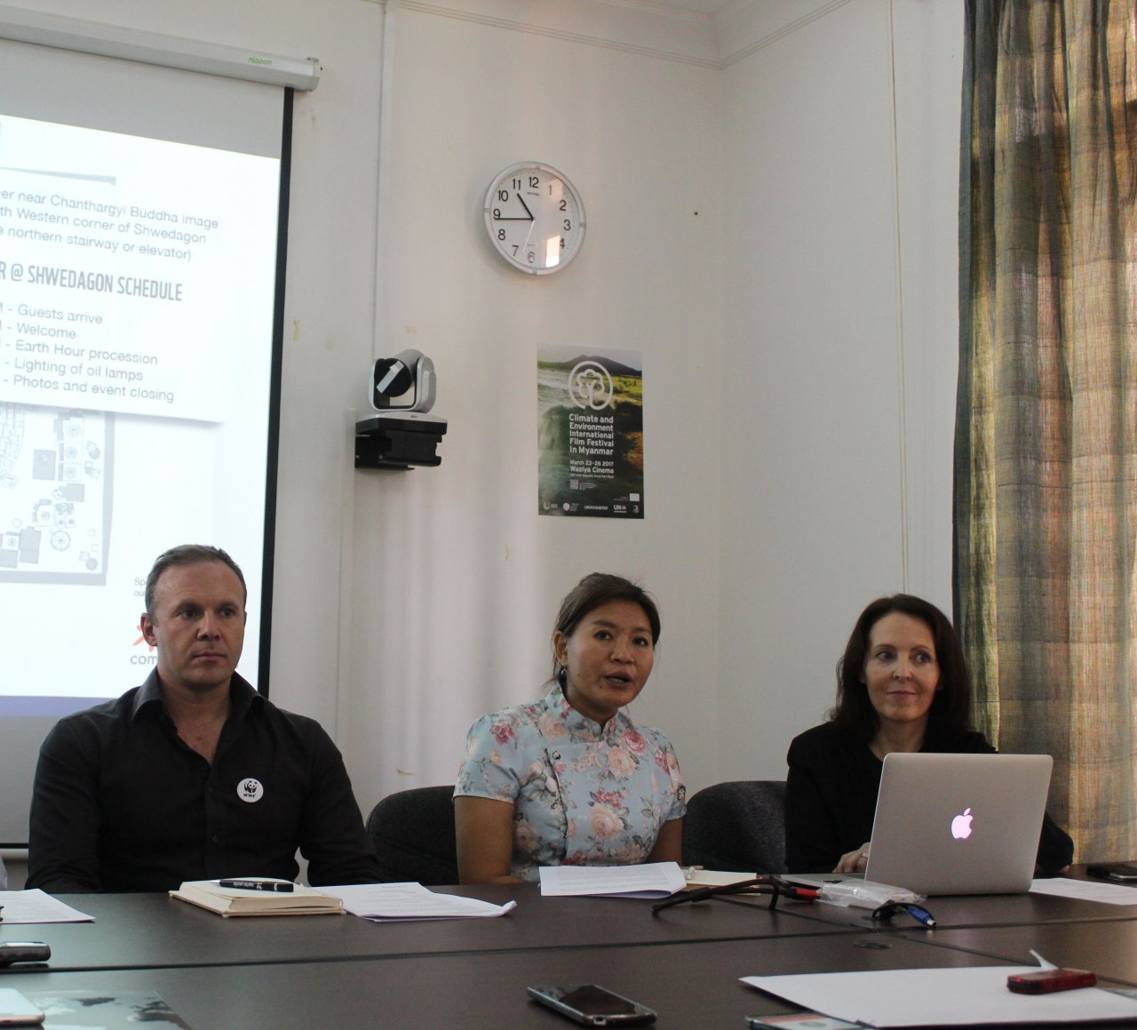 From left: WWF Myanmar's conservation programme director Nicholas J. Cox, senior operations manager May Moe Wah, and senior communications manager Alison Harley. (Photo- Khine Kyaw, Myanmar Eleven)