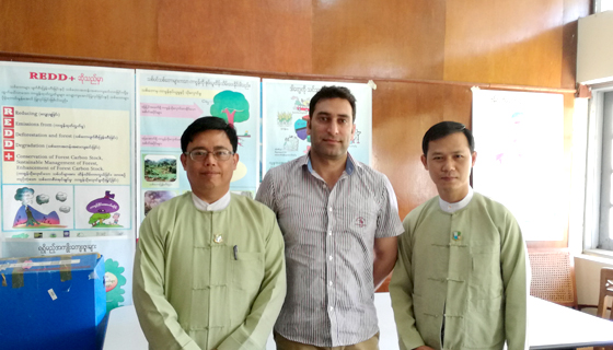 (L-R) Dr Thaung Naing Oo, Director, FRI, Myanmar; Mr Muhammad Sohail, REDD+ Specialist, ICIMOD; Mr Thein Saung, Staff Officer, FRI, Myanmar Photo: ICIMOD