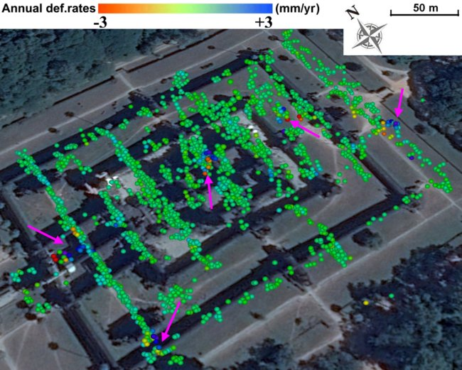 Annual deformation rates (millimeters per year) on the Angkor Wat Temple. The pink arrows mark vulnerable monuments. Credit: Chen Fulong. Read more from Asian Scientist Magazine at: https://www.asianscientist.com/2017/03/in-the-lab/angkor-wat-groundwater-tourism/