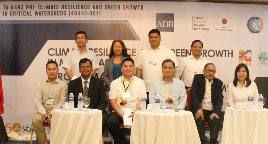 Seated from left: Mr. Roly Pinsoy (MinDA), Dr. Ancha Srinavasan (ADB), Mr. Abul Khayr Amalon Alonto II (MinDA), Commissioner Noel Gaerlan (CCC), Dr. Candido Cabrido (SEARCA TA 8493 Team), and Ms. Araceli Dela Fuente (DENR); standing from left: Dr. Takayuki Hatano and Ms. Nelflor Jo Atienza (CTI), Mr. Julius Francisco (WCI), and Dr. Lope B. Santos III (SEARCA), during the press conference at the Conference on Climate Resilience and Green Growth in Mindanao held on 9 May 2017 in Davao City, Philippines