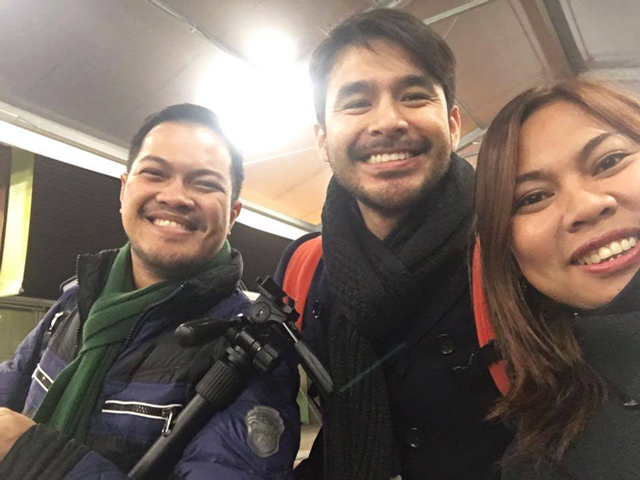 MEDIA CLIMATE CHAMPIONS. Journalists Voltaire Tupaz of Rappler, Atom Araullo of ABS-CBN, and Imelda Visaya Abano of the Philippine Network of Environmental Journalists (L-R) cover the historic 21st Conference of Parties of the UN Convention Framework on Climate Change (COP21) in France. Photo courtesy of Imelda Abano