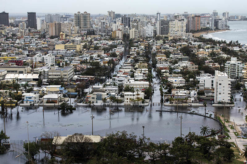 The coastal city of San Juan in Puerto Rico was flooded after Hurricane Maria hit in September 2017.Credit: Dennis M. Rivera Pichardo/The Washington Post/Getty
