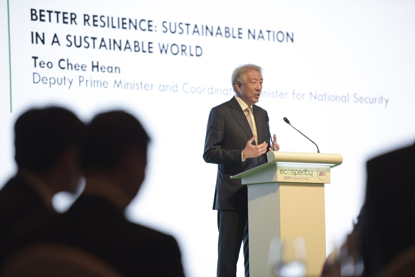 Teo Chee Hean, Singapore's deputy prime minister and coordinating minister for natural security, shares Singapore's sustainable development story at the Ecosperity 2017 conference, organised by Temasek. Image: Temasek