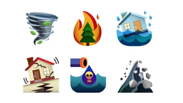 Climate disaster emoji set. Image credit: Sara Dean, co-creator and assistant professor at the California College of the Arts; Beth Ferguson, co-creator and assistant professor at the University of California, Davis; Bo Peng, graphic designer