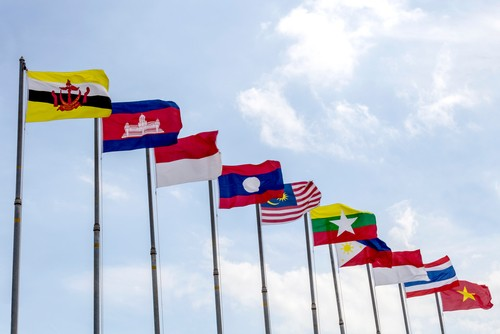 The flags of the 10-member countries of the Association of Southeast Asian Nations (Asean) - Brunei Darussalam, Cambodia, Indonesia, Laos, Malaysia, Myanmar, Philippines, Singapore, Thailand, and Vietnam. Image: Shutterstock
