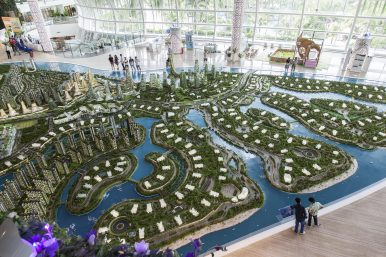 In Forest City's show gallery, a sprawling model displays the four reclaimed islands which will soon sprout out of the Johor Strait. Image Credit: Albert Shaw