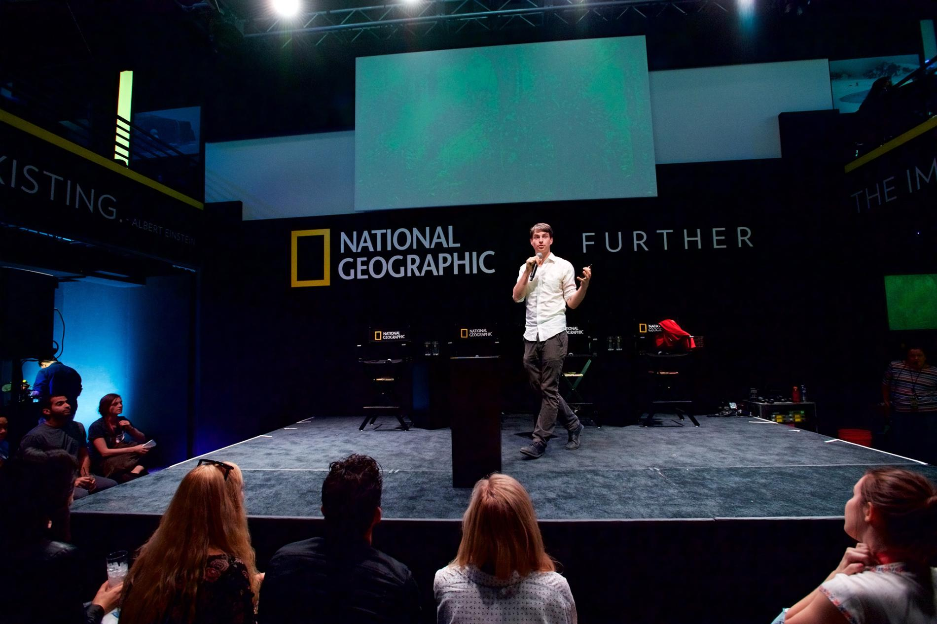 "White spoke at National Geographic's ""Further Base Camp"" earlier this year in Austin, Texas.  PHOTOGRAPH BY EARL GIBSON III, GETTY IMAGES FOR NATIONAL GEOGRAPHIC"