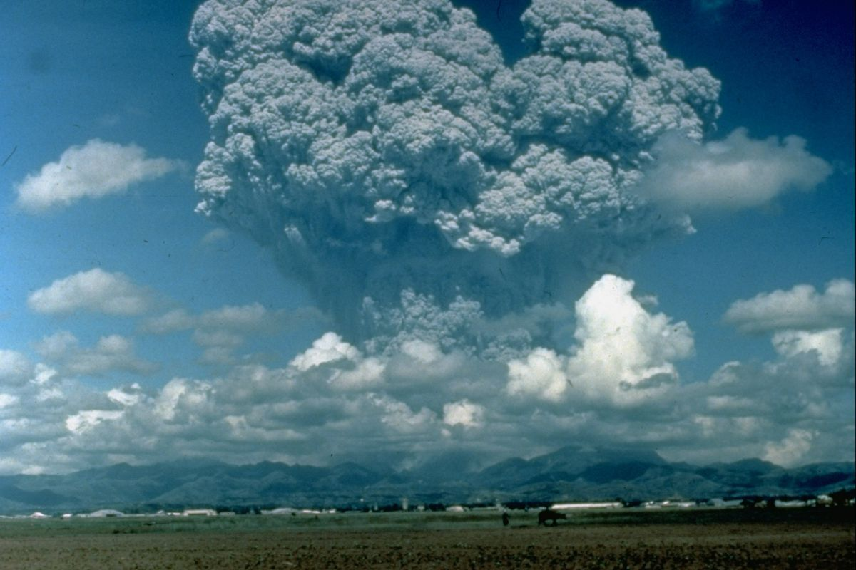 Mount Pinatubo in the Philippines erupted in 1991, sending 20 million tons of sulfur compounds into the sky. Scientists studied the eruption to estimate the impacts of solar geoengineering. David Harlow/US Geological Survey/The LIFE Picture Collection/Getty Images