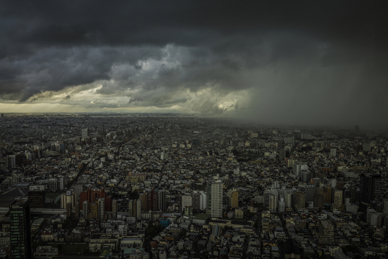 Rains pour over Tokyo after one of three typhoons hit the city in June 2016. Photo by James Whitlow Delano
