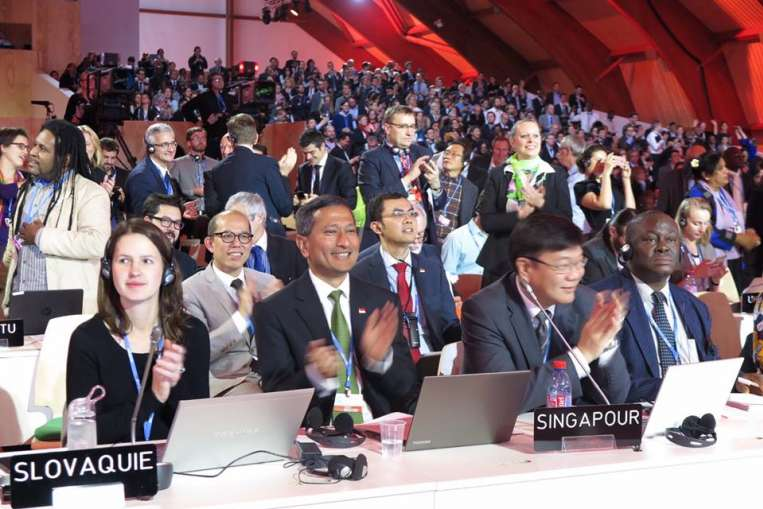 Dr. Vivian Balakrishnan (foreground, second from left) attends the World Climate Change Conference 2015 in Paris.PHOTO: VIVIAN BALAKRISHNAN/FACEBOOK