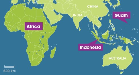 Pacific air pollution traced to africa and asia map showing guam indonesia and africa gumiabroncs Choice Image