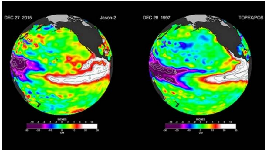By area affected, this year's El Nino is larger than the 1997-98 monster event, NASA says. Photo: NASA