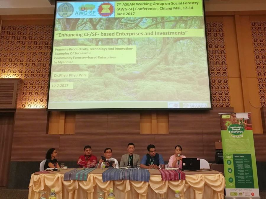 Dr. Phyu Phyu Win (SEARCA Travel Grant recipient) as moderator and speaker of the session on 'Integrating Social Forestry/Community Forestry Enterprises in Micro, Small and Medium Enterprises (MSME) Plan of ASEAN: Pathway to achieving Success.'