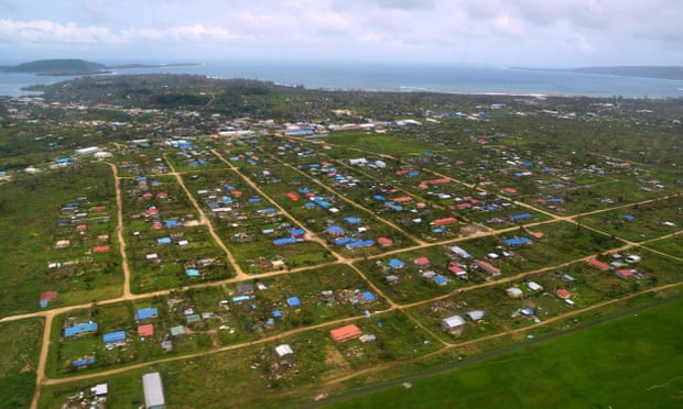 Vanuatu's capital Port Villa after Cyclone Pam in 2015. Pacific islands' food production is heavily susceptible to climate extremes. Photograph: Tom Perry/AFP/Getty Images