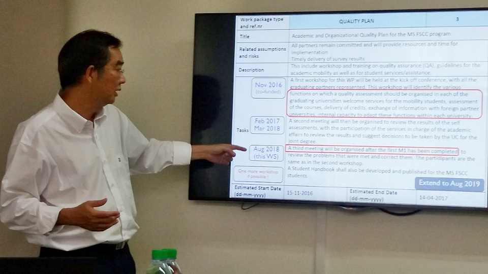 Project Coordinator from KU, Dr. Poon Kasemsap presents the project plan to the group.