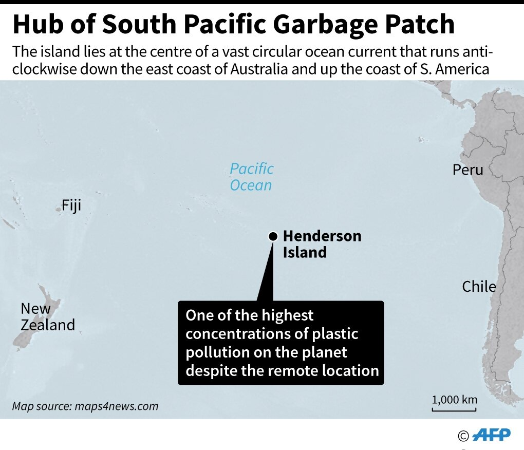 Map locating Henderson Island in the southern Pacific Ocean, which, despite its remote location, has one of the highest concentrations of plastic pollution on the planet.