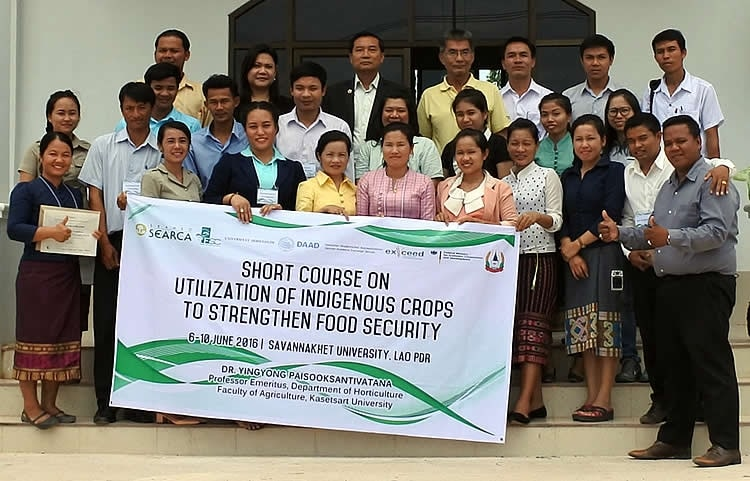 Faculty members and researchers from Savannakhet University (SKU), Lao PDR during the FSC funded Short Course on Utilization of Indigenous Crops to Strengthen Food Security. SKU is also SEARCA's partner under the Institutional Development Assistance (IDA) Program.