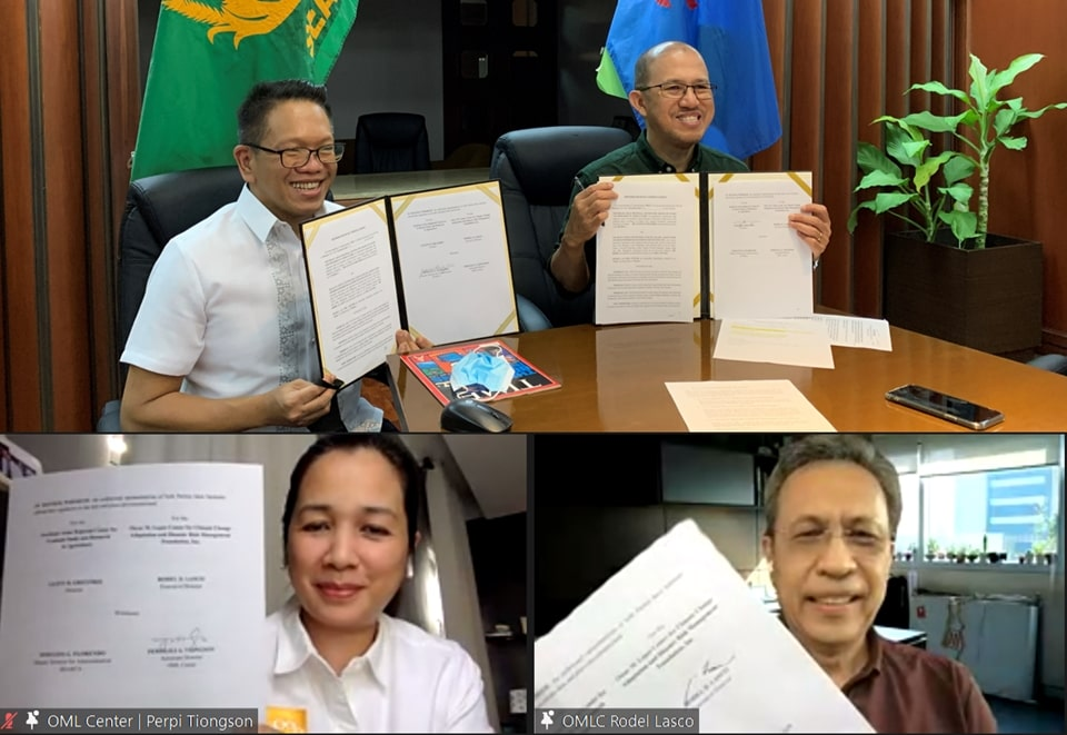 Clockwise from top, right: Dr. Glenn B. Gregorio, SEARCA Director; Dr. Rodel D. Lasco, OML Center Executive Director; Ms. Perpilili A. Tiongson, OML Center Associate Director; and Mr. Joselito G. Florendo, SEARCA Deputy Director for Administration, each hold a copy of the MOU between SEARCA and OML Center they signed in a virtual ceremony on 23 February 2021.