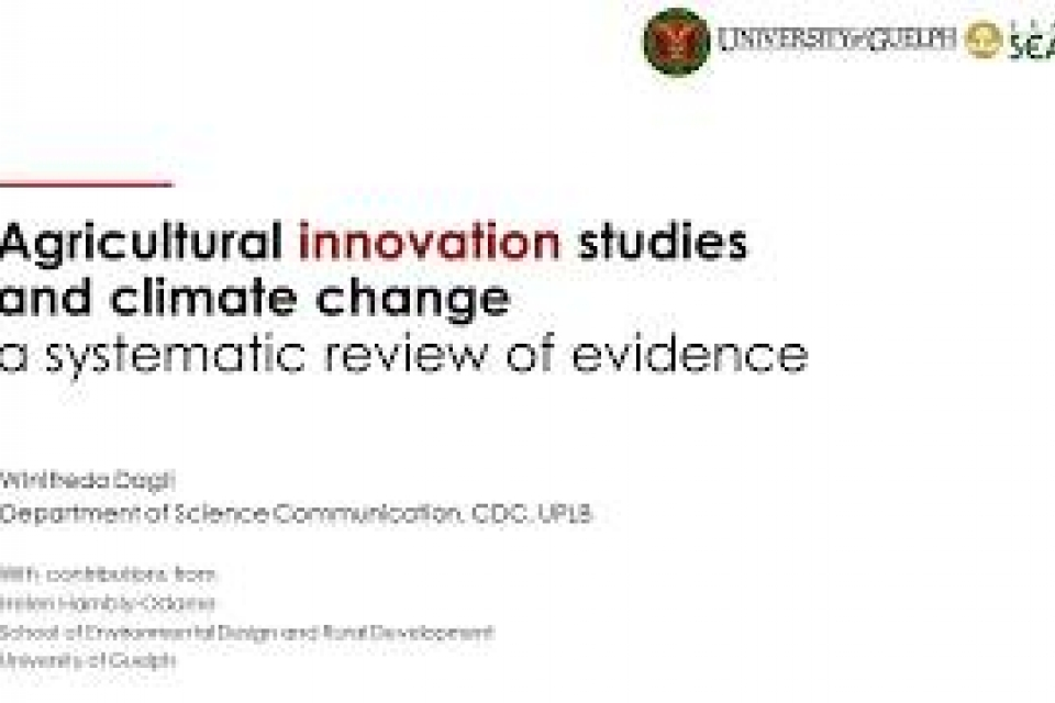 ADSS: Agricultural Innovation Studies and Climate Change: A Systematic Review of Evidence