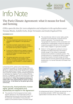 Paris Climate Agreement unlocks opportunities for food and farming