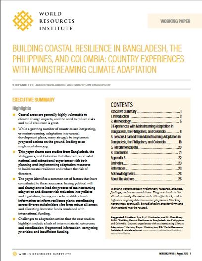 Building coastal resilience in Bangladesh, the Philippines, and Colombia: country experiences with mainstreaming climate adaptation