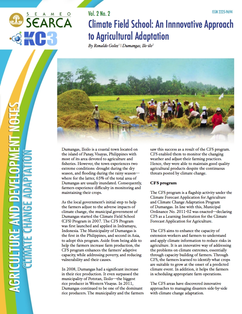 Climate Field School: An Innovative Approach to Agricultural Adaptation