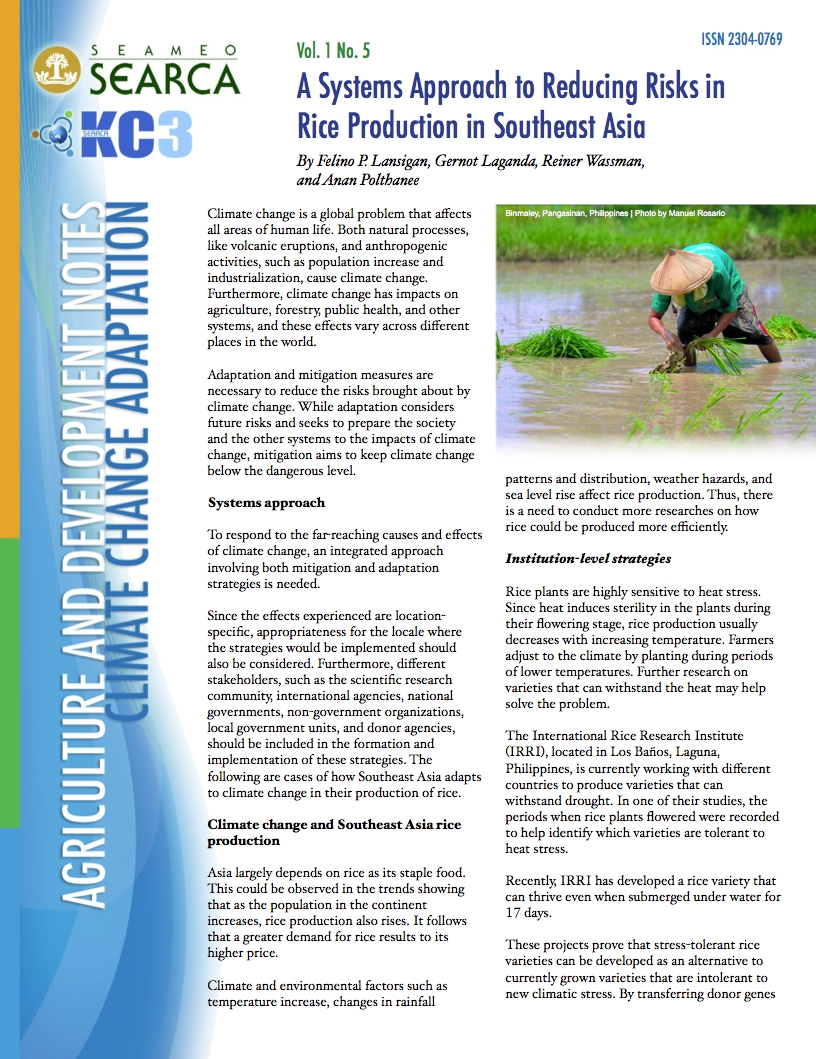 A Systems Approach to Reducing Risks in Rice Production in Southeast Asia