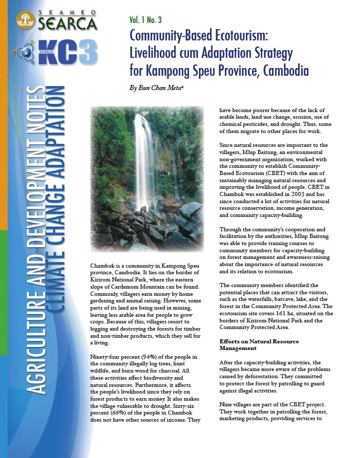 Community-Based Ecotourism: Livelihood cum Adaptation Strategy for Kampong Speu Province, Cambodia