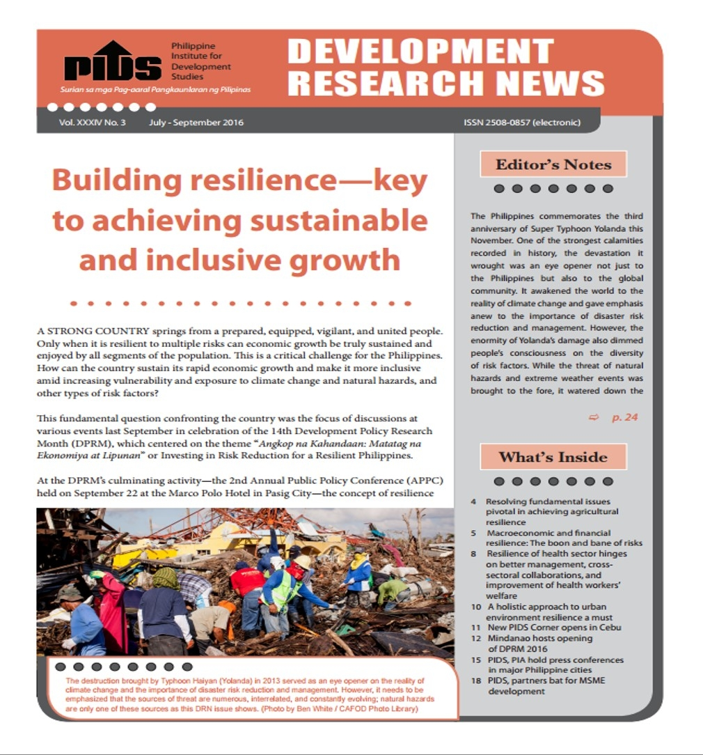 Building resilience—key to achieving sustainable and inclusive growth