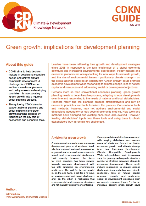 CDKN Guide: Green growth – implications for development planning