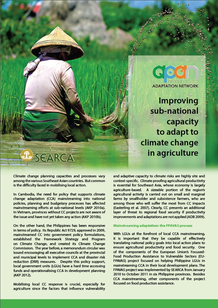 SEARCA-APAN Policy Brief on Improving the Sub-national Capacity to Adapt to Climate Change in Agriculture